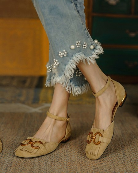 Square-toe Solid Color Tassel Splicing Chain Suede Leather Flat Sandals