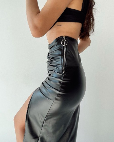 Split Thigh Ruched PU Leather Midi Skirt