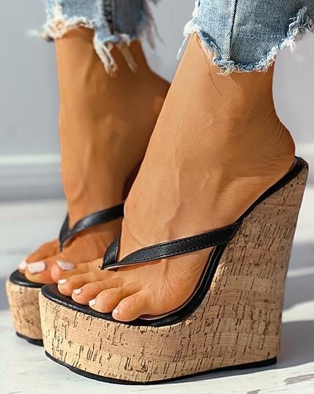 Woven Flax Wedge Flip Flops