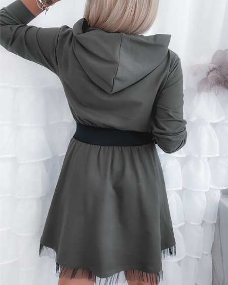 Lace Trim Long Sleeve Hooded Casual Dress
