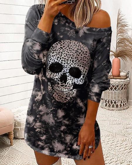 Halloween Long Sleeve Cheetah Skull Tie Dye Print Sweatshirt Dress