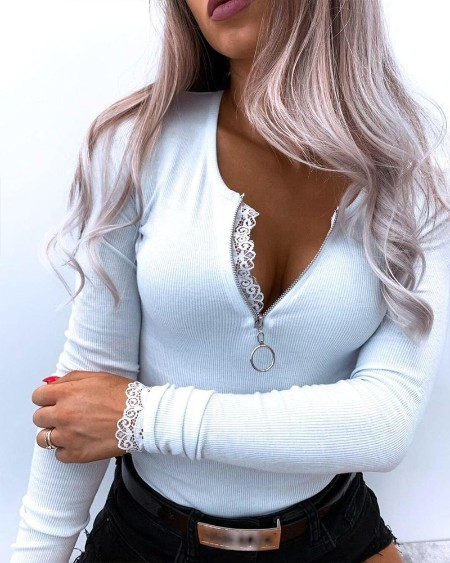 Contrast Lace Zipper Front Ribbed Top