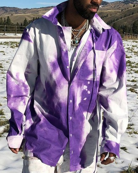 Tie Dye Print Long Sleeve Loose Shirt