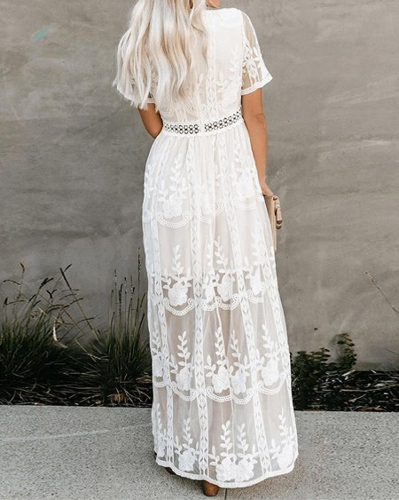 Lace Plunge Neck Embroidery Maxi Dress