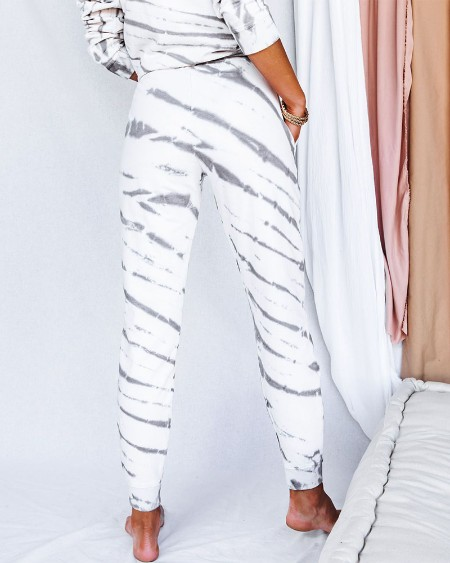 Tie Dye Long Sleeve Shirt With Drawstring Trousers Suit Sets