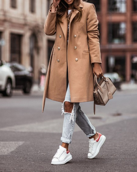 Long Sleeve Double Breasted Belted Pea Coat