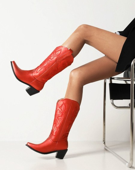 Womens Vintage Embossed Square Toe Shiny Finish Western Boots
