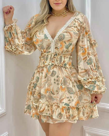 Floral Print Cut-Out Contrast Lace V-Neck Frill Trim Shirred Waist Dress