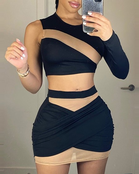 Sheer Mesh Crop Top & Ruched Skirt Set