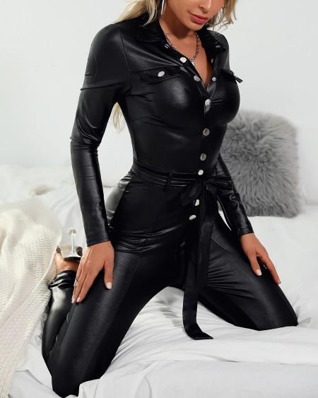 Deep V Faux Leather Jumpsuit