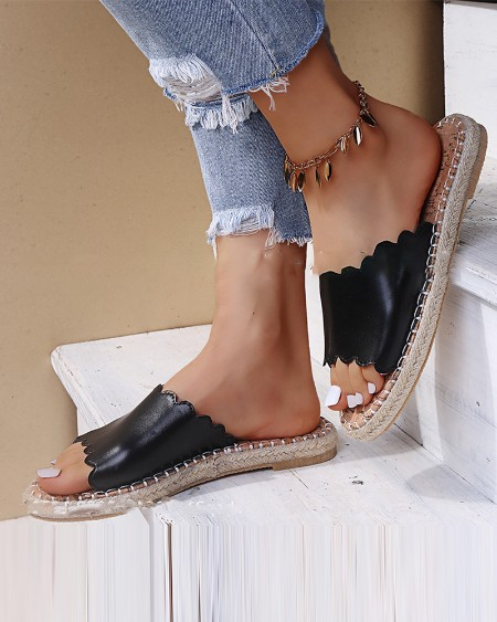 Round-toe Solid Color Strap Flat Slippers