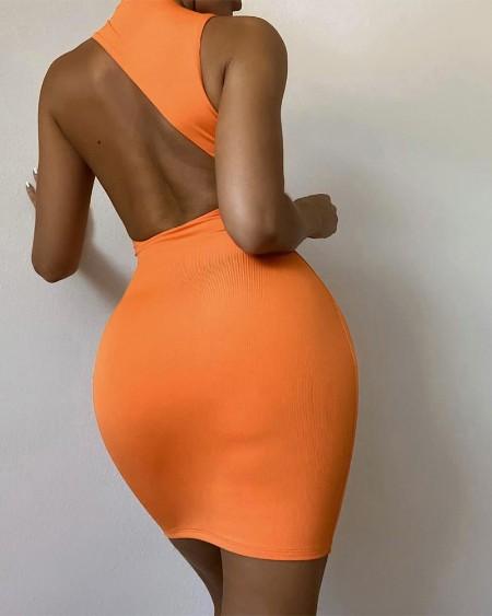 Asymmetrical Open Back Sleeveless Bodycon Dress