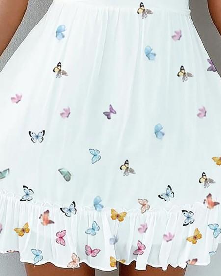 Frill Hem Ruched Butterfly Print Dress