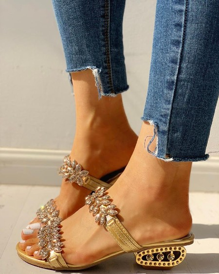 Rhinestone Floral Pattern Double Band Chunky Heels