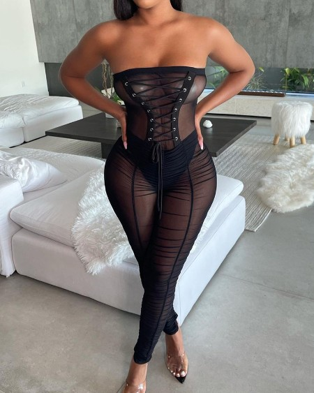 See Through Mesh Lace-up Eyelet Ruched Skinny Bandeau Jumpsuit