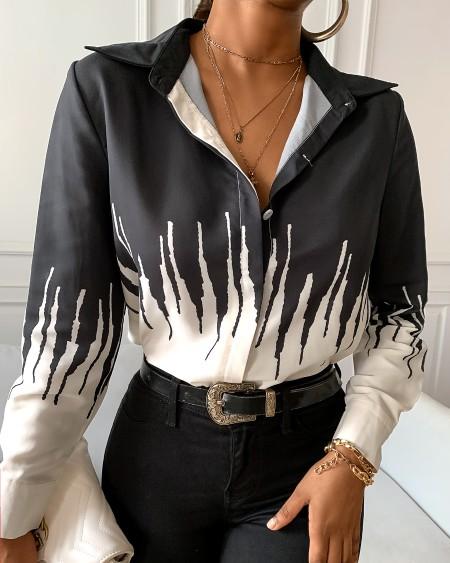 Colorblock Long Sleeve Casual Shirt