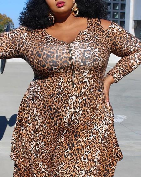 Plus Size Leopard Print Zipper Cold Shoulder Jumpsuit