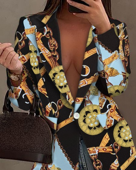 Blazer com estampa de lenço corrente lapela colarinho único botão casaco casaco de manga comprida