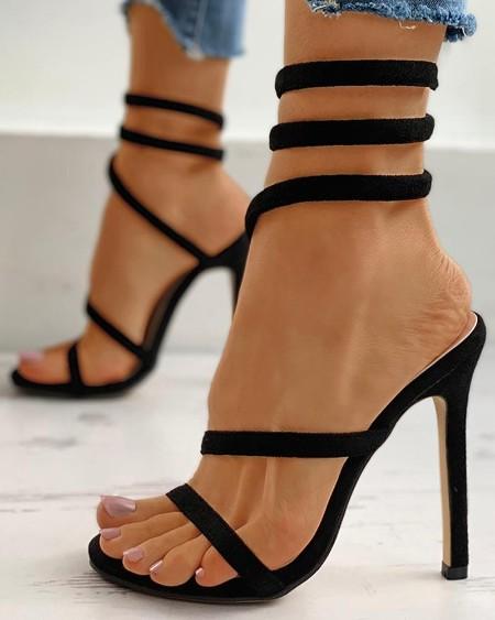 Open Toe Tie Leg Stiletto Heel