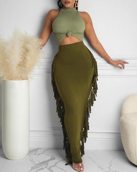 Halter Sleeveless Top & Tassel Design Skirt Set