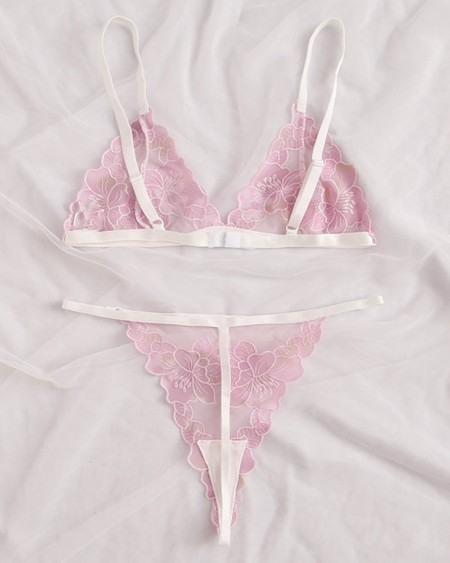 Sexy Floral Embroidery Sling Bra Sets
