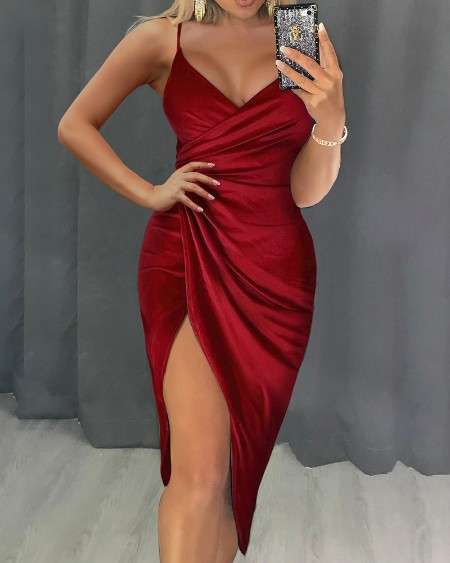Ruched High Slit Wrap Dress