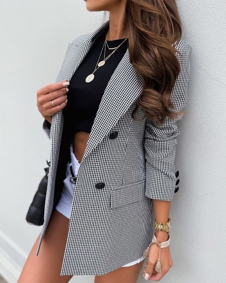 Plaid Lapel Collar Double Breasted Flap Detail Blazer