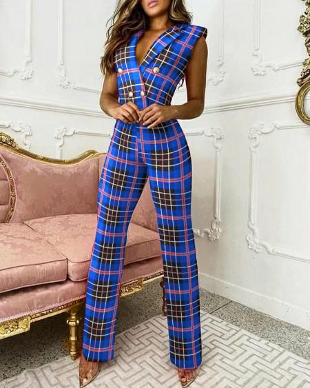 Plaid Print Double Breasted Sleeveless Blazer Jumpsuit