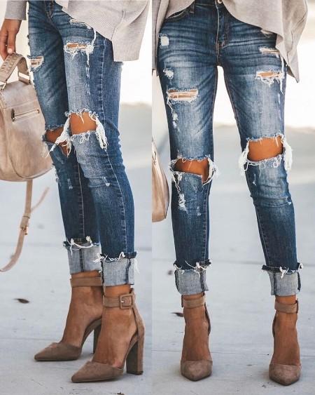 High Waist Ripped Cutout Jeans