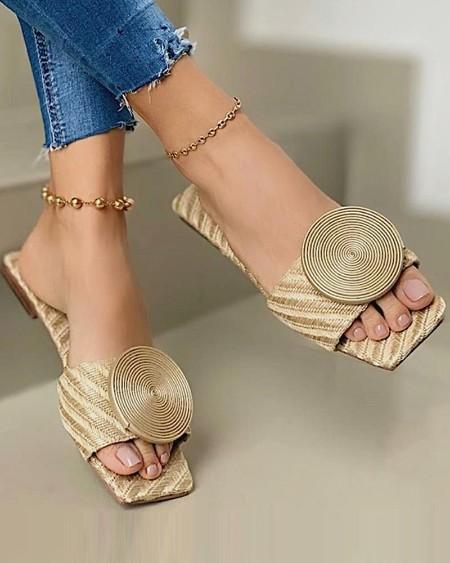 Solid Round Buckle Decoration Flat Sandals