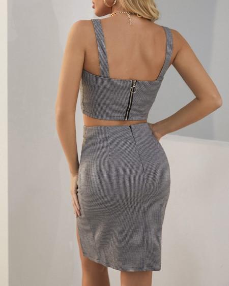Plaid Print Buttoned Crop Top & Slit Skirt Sets