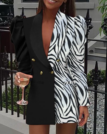 Zebra Stripe Colorblock Shawl Collar Puff Sleeve Double Breasted Blazer Dress