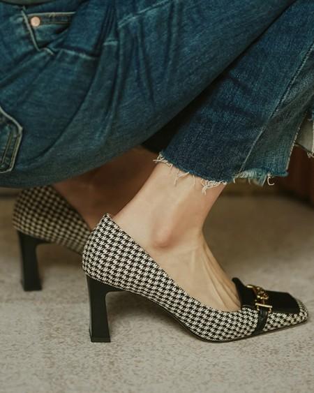 Houndstooth Print Mtallic Buckle Block Heels