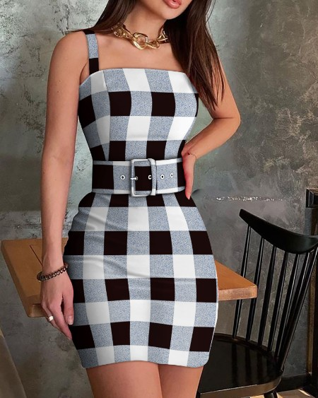 Thick Strap Checker Print Bodycon Dress Wirh Belt
