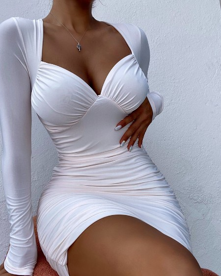 Long Sleeve Ruched Bodycon Dress