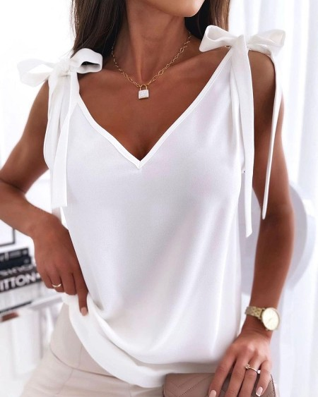 Tied Detail V-Neck Casual Tank Top