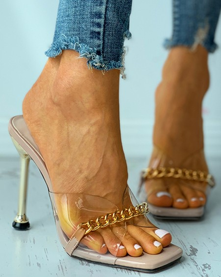Chain Decor Clear Perspex Square Toe Heeled Sandals