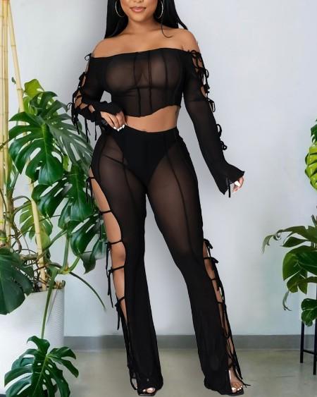 Sheer Mesh Lace-Up Off Shoulder Crop Top & Pants Set