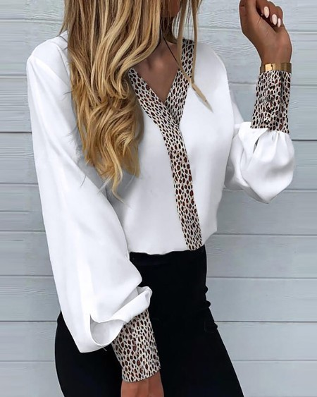 Leopard Print Colorblock Long Lantern Sleeve Blouse V Neck Workwear Shirts White Top