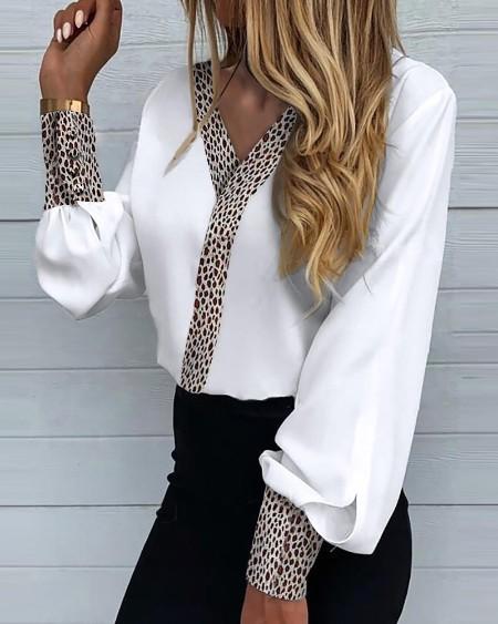 Leopard Print Long Lantern Sleeve Shirt