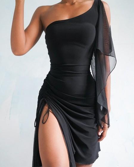 Solid Mesh Contrast Sleeveless Slit Long Dress