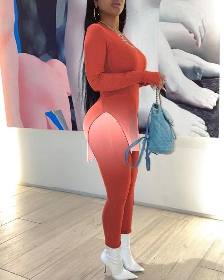 Ombre Split Hem Top & Skinny Pants Set