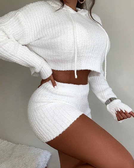 Knit Long Sleeve Hooded Crop Top & Shorts Set