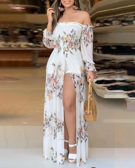 Floral Print Culotte Design High Slit Romper