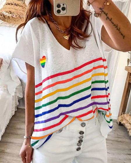 Rainbow Color Striped Short Sleeve T-shirt