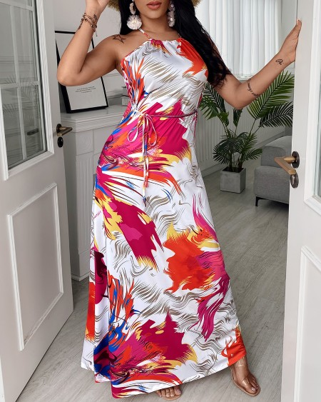 Colorblock Backless Halter Crisscross Lace Up Sleeveless Maxi Dress
