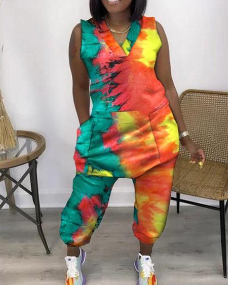 Tie Dyed Pocket Design Jumpsuit