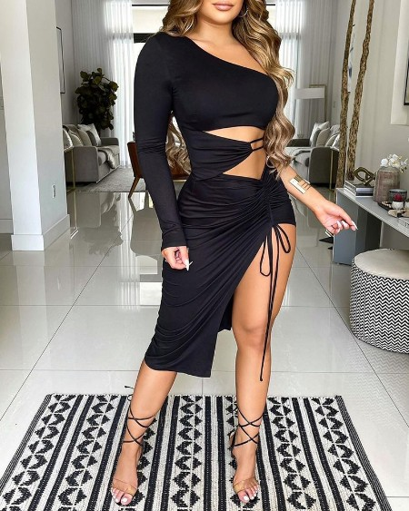 One Shoulder Drawstring Ruched Cutout Slit Bodycon Dress