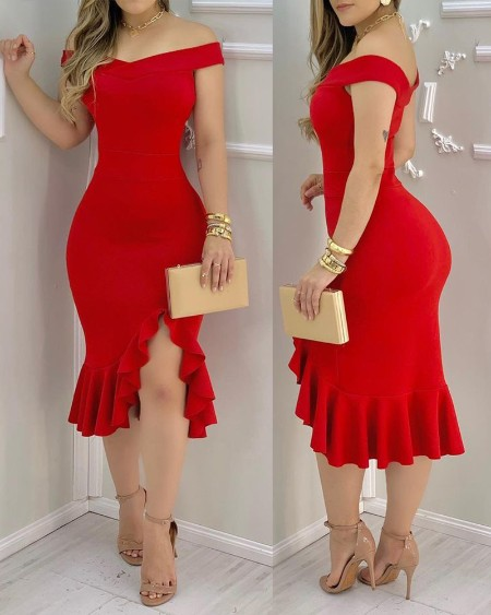 Women Plain Off Shoulder Ruffle Hem Slit Dress Maxi Dress Bodycon Dress Sexy Dress