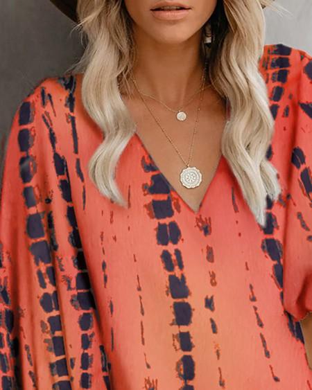 V-Neck Tie Dye Print Lantern Sleeve Top